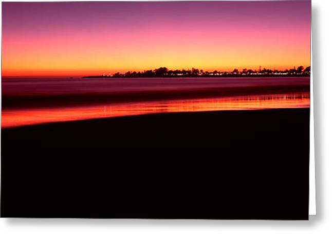 Beach At Sunset, Santa Cruz, Santa Cruz Greeting Card by Panoramic Images