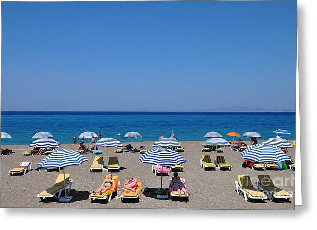 Beach At The City Of Rhodes Greeting Card by George Atsametakis