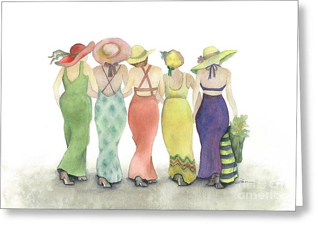 Beach Babes In Coverups And Hats Ready For A Day In The Sun Greeting Card