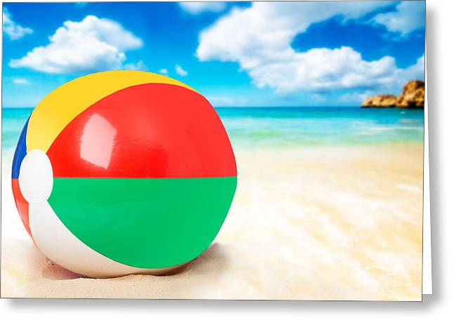 Beach Ball Greeting Card by Amanda Elwell