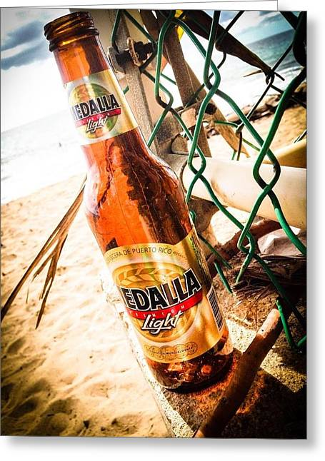 Beach Beer Greeting Card by Loretta Cassiano