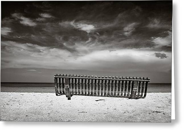 Beach Bench Greeting Card by Dave Bowman