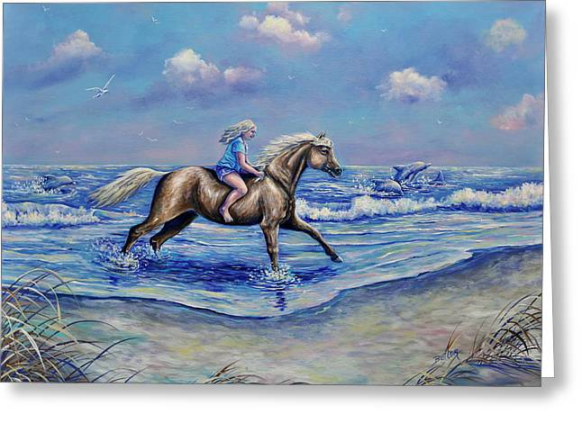 Beach Blonde Running Mates Greeting Card