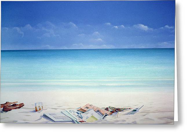 Beach Broker Greeting Card by Lincoln Seligman
