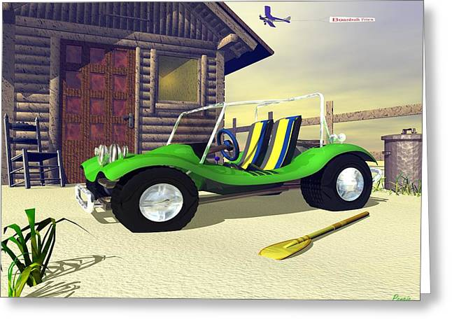 Greeting Card featuring the digital art Beach Buggy by John Pangia