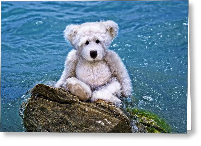 Beach Bum - Teddy Bear Art By William Patrick And Sharon Cummings Greeting Card by Sharon Cummings