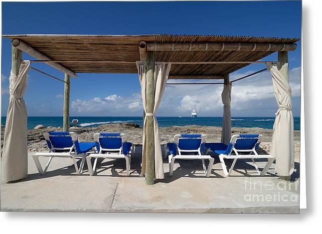 Beach Cabana With Lounge Chairs Greeting Card