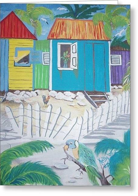 Beach Cabanas Greeting Card by Shirley Kelly