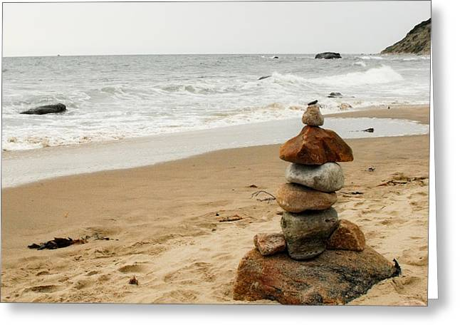 Greeting Card featuring the photograph Beach Cairn  by Dawn Romine