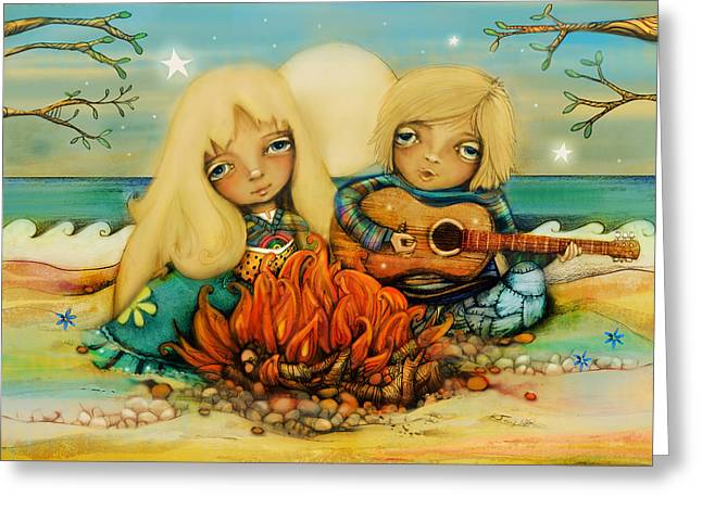 Beach Campfire Greeting Card by Karin Taylor