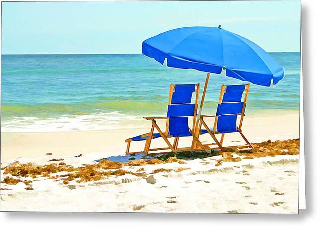 Beach Chairs And Umbrella Greeting Card by Elaine Plesser