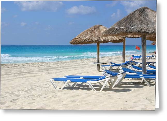 Beach Chairs In Cancun Greeting Card