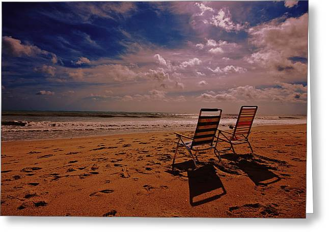 Greeting Card featuring the photograph Beach Chairs by John Harding