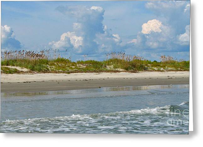 Greeting Card featuring the photograph Beach Clouds by Val Miller