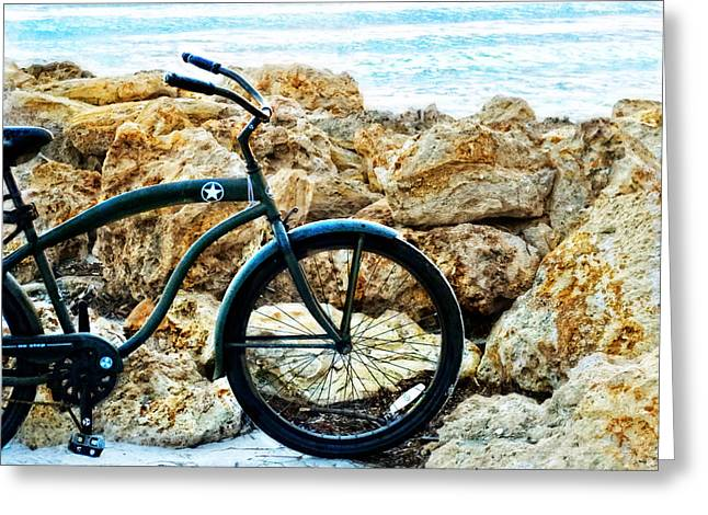 Beach Cruiser - Bicycle Art By Sharon Cummings Greeting Card