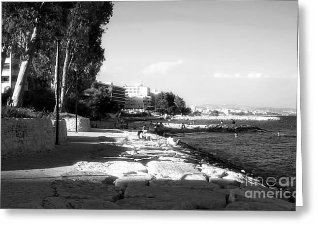 Beach Day At Limassol Greeting Card by John Rizzuto
