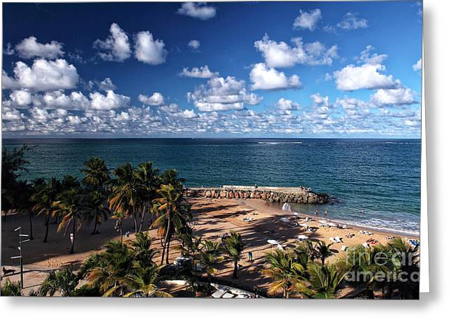 Beach Day At San Juan Greeting Card by John Rizzuto