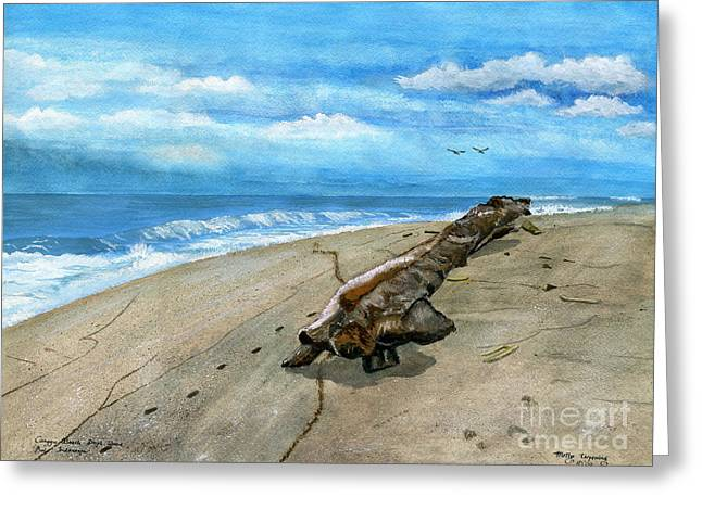 Greeting Card featuring the painting Beach Drift Wood by Melly Terpening