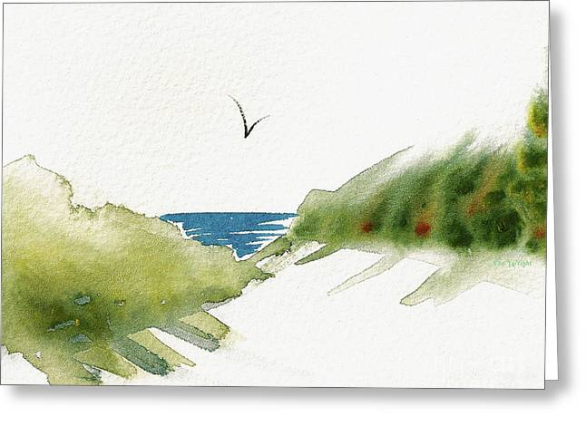 Greeting Card featuring the painting Beach Dunes And Bird by Nan Wright