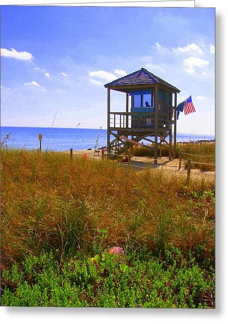 Greeting Card featuring the photograph Beach Duty by Artists With Autism Inc