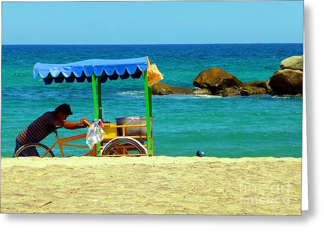 Beach Entrepreneur In San Jose Del Cabo Greeting Card by Barbie Corbett-Newmin