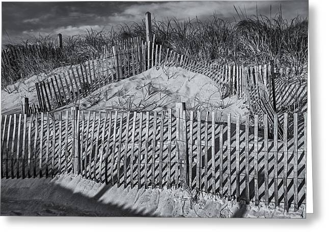 Beach Fence Bw Greeting Card by Susan Candelario