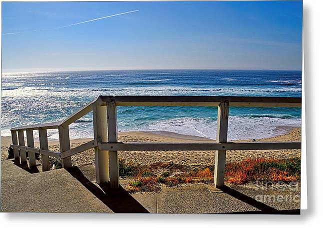 Beach Fence Ocean View By Kaye Menner Greeting Card by Kaye Menner