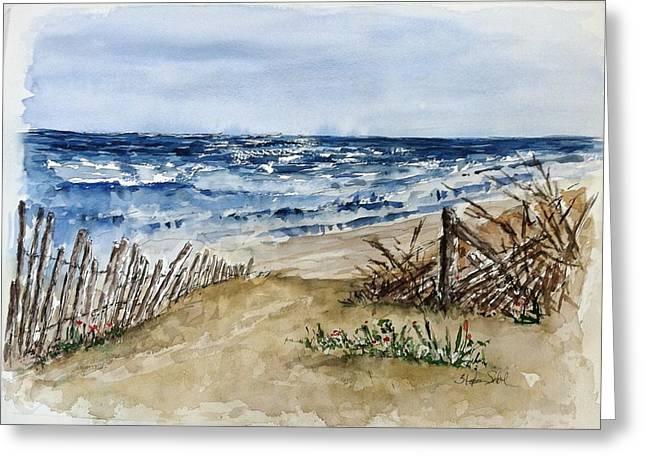 Beach Fence Greeting Card by Stephanie Sodel