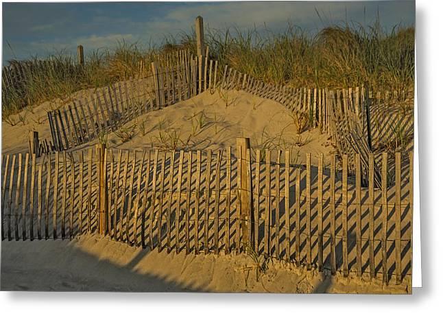 Beach Fence Greeting Card by Susan Candelario
