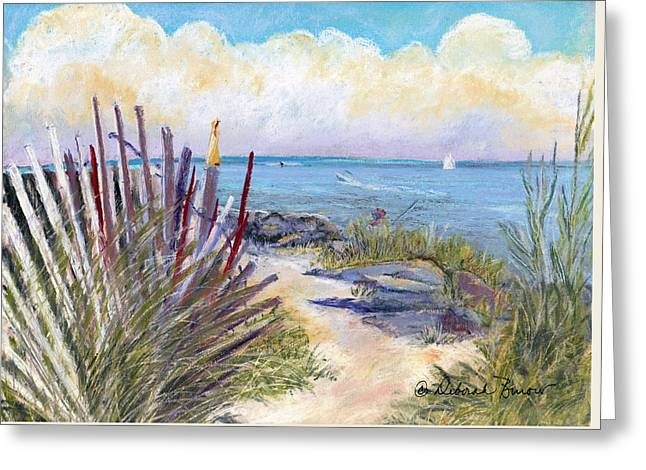 Beach Fence With Ferry Greeting Card