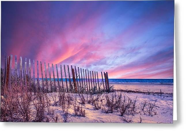 Beach Fences Greeting Card by Debra and Dave Vanderlaan
