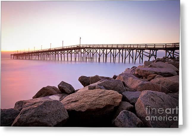 Beach Fishing Pier And Rocks At Sunrise Greeting Card