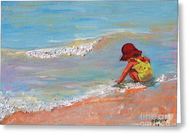 Beach Girl In Red Hat Greeting Card