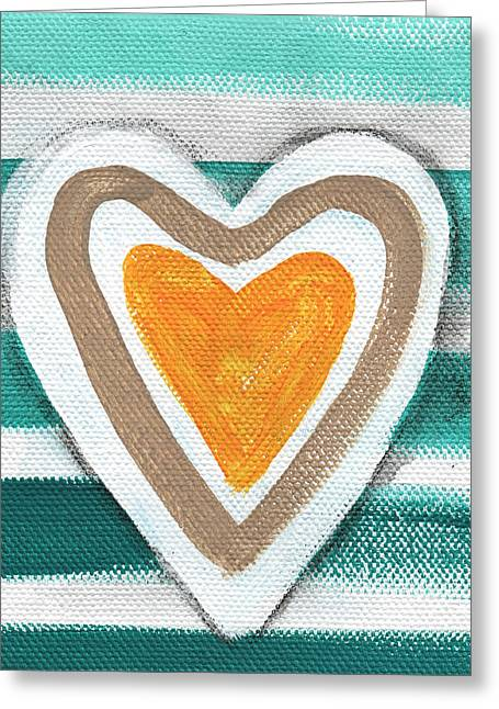 Beach Glass Hearts Greeting Card by Linda Woods