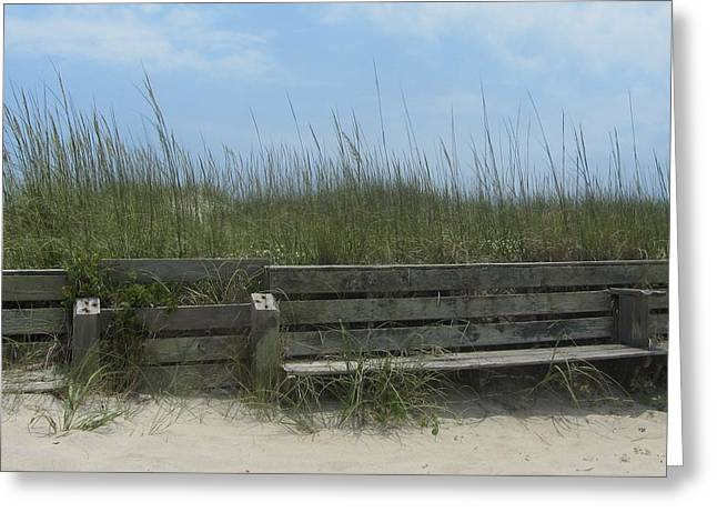 Greeting Card featuring the photograph Beach Grass And Bench  by Cathy Lindsey