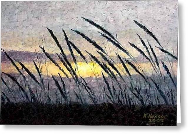 Beach Grass Sunset Greeting Card by Kenny Henson