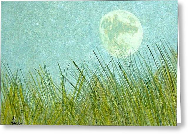 Beach Grass With Moon Greeting Card by Kenny Henson