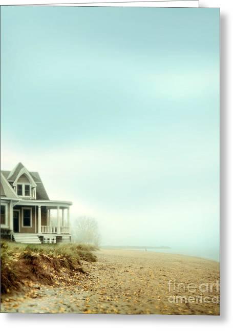 Beach House In Fog Greeting Card