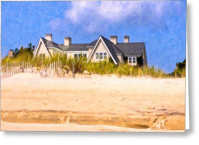 Beach House In The Hamptons Greeting Card by Mark E Tisdale