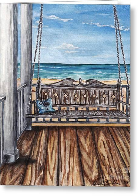 Beach House Patio Greeting Card by Sheena Pape