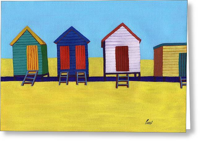 Beach Huts Greeting Card by Bav Patel
