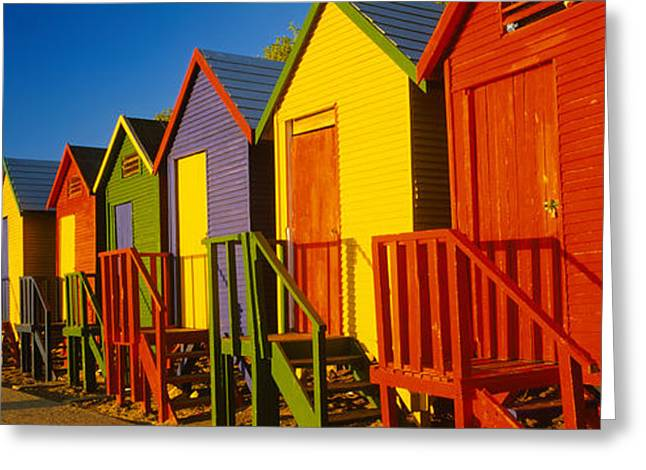 Beach Huts In A Row, St James, Cape Greeting Card by Panoramic Images