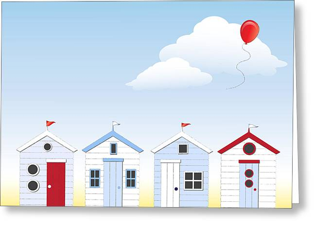 Beach Huts Greeting Card by Jane Rix