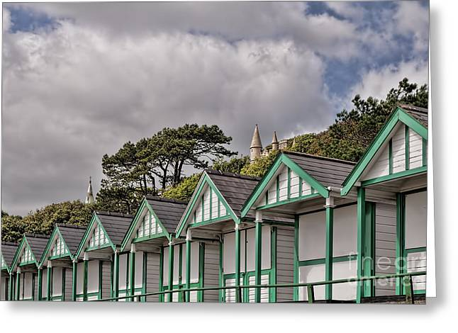 Beach Huts Langland Bay Swansea 3 Greeting Card by Steve Purnell