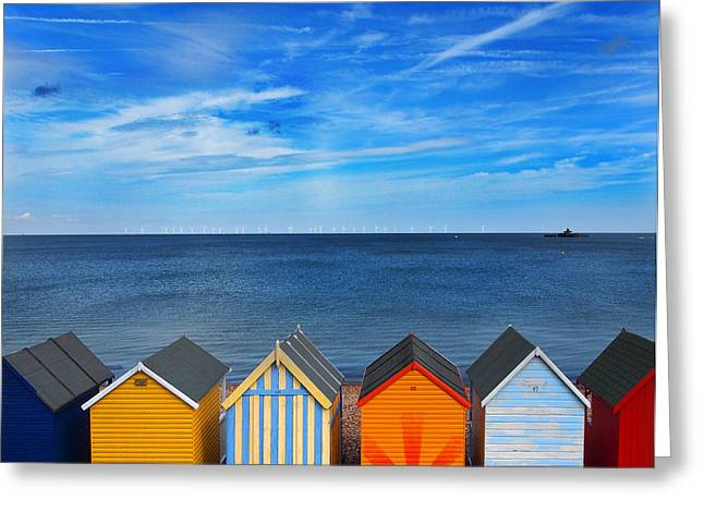 Beach Huts Greeting Card by Mark Rogan