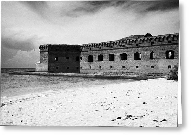 Beach In Front Of Fort Jefferson Brick Walls With Moat Dry Tortugas National Park Florida Keys Usa Greeting Card by Joe Fox
