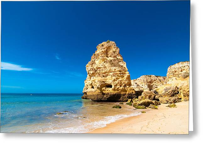 Beach In The Algarve Portugal Greeting Card by Amanda Elwell