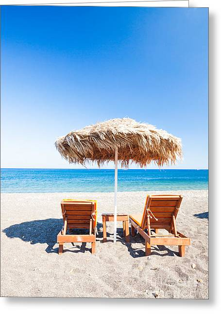 Beach In The Mediterranean Sea Greeting Card by Matteo Colombo