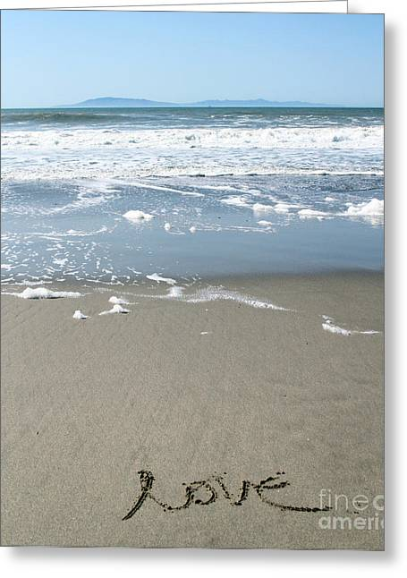 Beach Love Greeting Card by Linda Woods