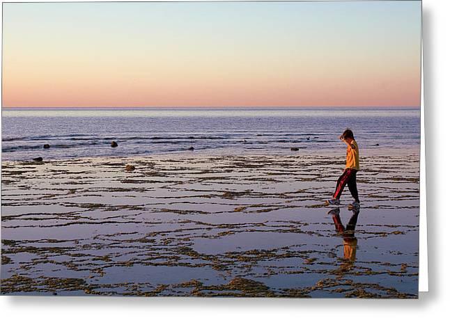 Beach Mirror Walk Greeting Card by Dave Dilli
